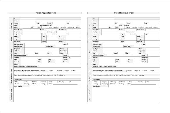 Patient Registration And Pain Chart Template