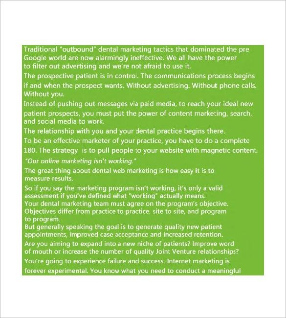 dental marketing plan sample