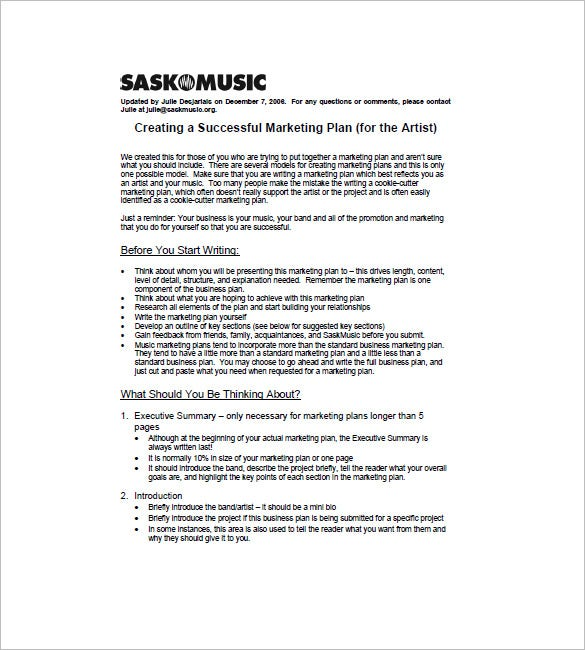 sample music marketing plan