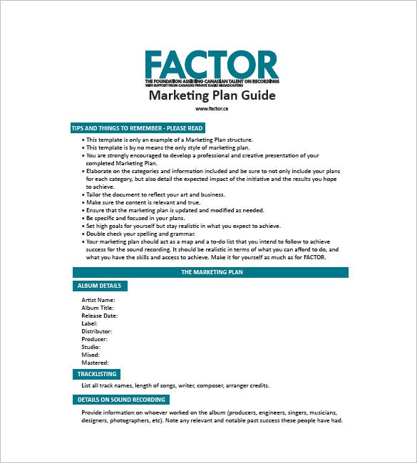 Music Marketing Plan Template  Free Word Excel Pdf Format