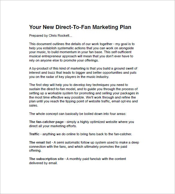 creating a music marketing plan