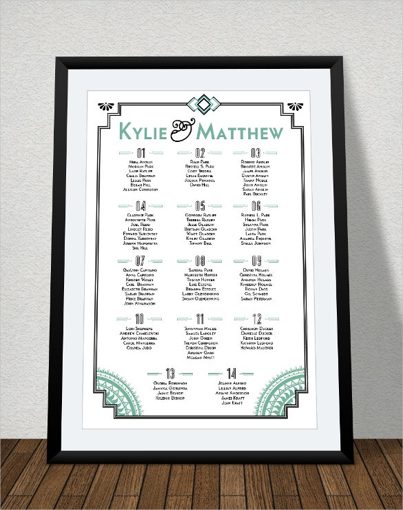 Wedding Seating Chart Template 12 Examples in PDF Word – Seating Plan Template Wedding