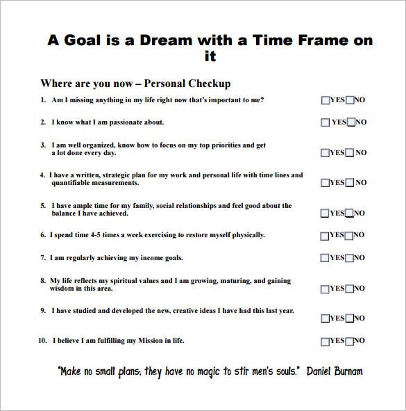 7 goal chart templates doc pdf excel free premium for Setting life goals template