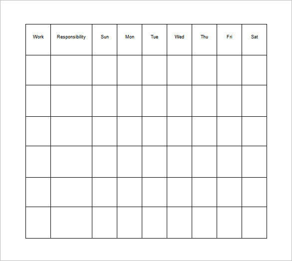 responsibility chart for kids in ms word