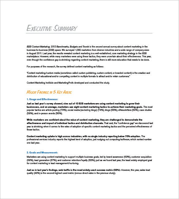 Marketing Plan Executive Summary Template 10 Free Sample – Executive Brief Sample
