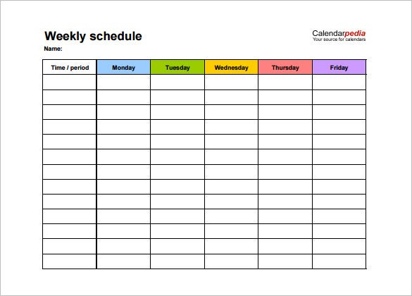 Weekly Schedule Template 13 Free Word Excel PDF Download – Monday to Sunday Schedule Template