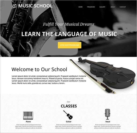 beautiful music school wordpress theme