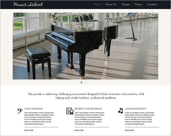 modern music school wordpress theme