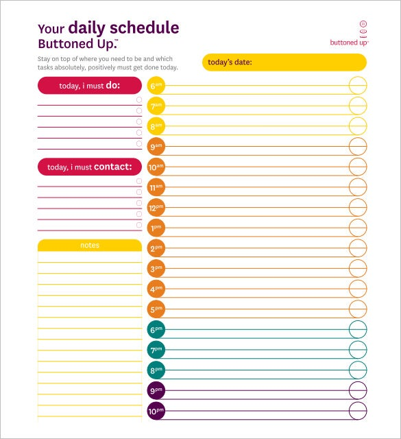 sample daily schedule template