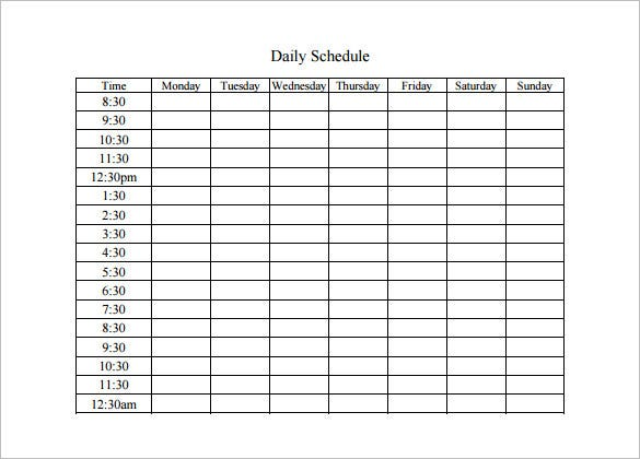 Daily Schedule Outline Printable Editable Blank – 5 Day Schedule Template