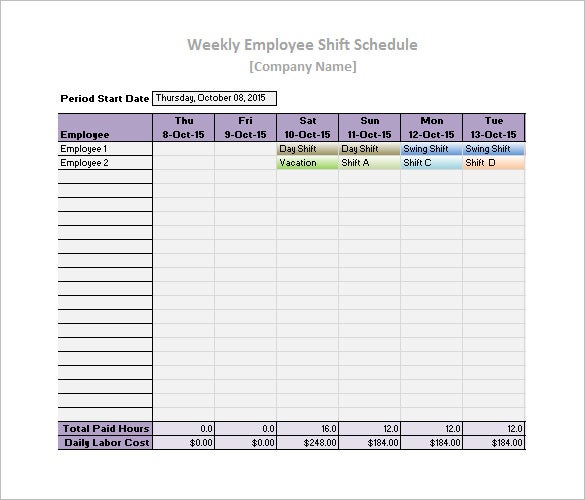 free download employee work schedule template