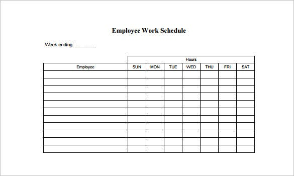 employee work schedule template pdf format