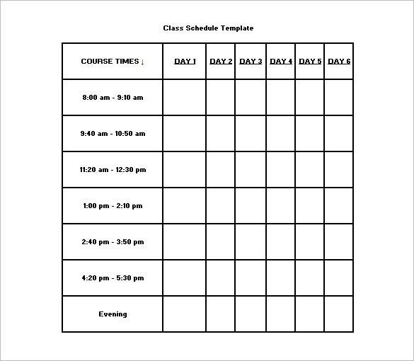 Class Schedule Template Free Word Excel Documents Download – 5 Day Schedule Template