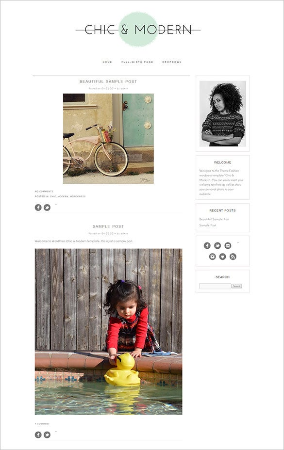 simple modern and creative wordpress theme