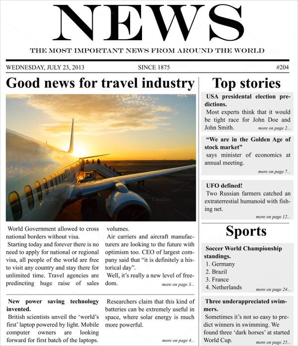 newspaper headline template1