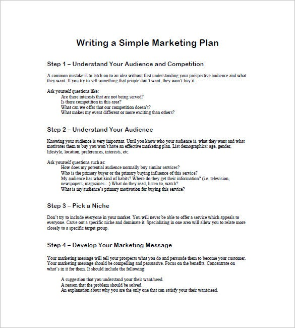 Simple Marketing Plan Template   Free Word Excel Pdf Format