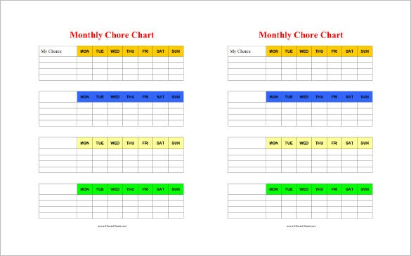 monthly chore chart word template download