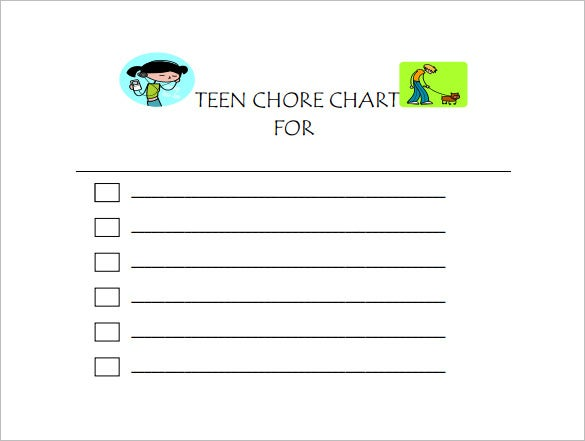 Chore Chart Template   Free Sample Example Format Download