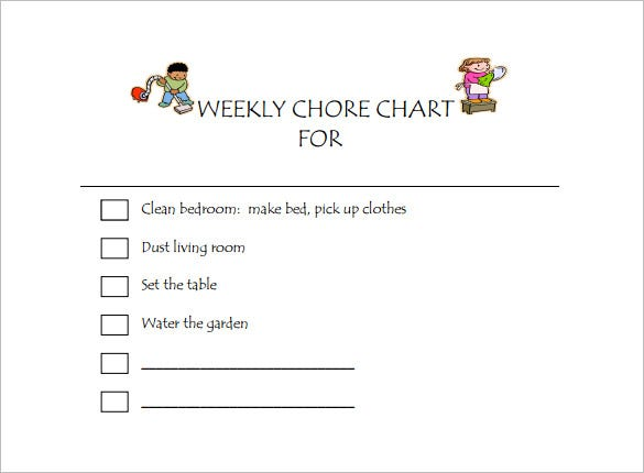 kids chore chart pdf free template download