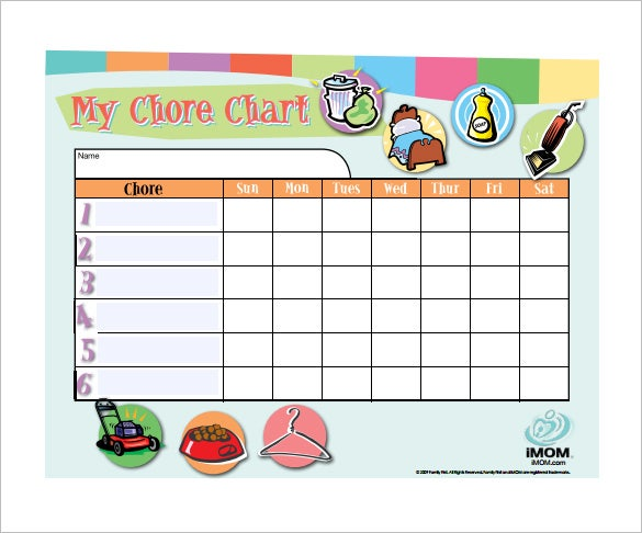 customizable chore chart pdf free template
