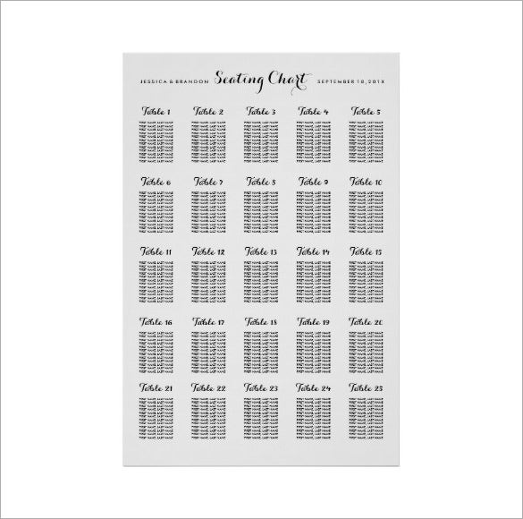 Large Wedding Seating Chart Example Template