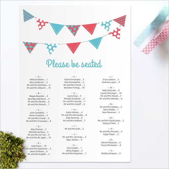 Wedding Seating Chart Template 11 Free Sample Example Format – Sample Wedding Seating Chart
