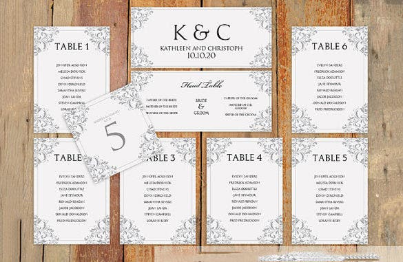 Format Of A Wedding Seating Chart