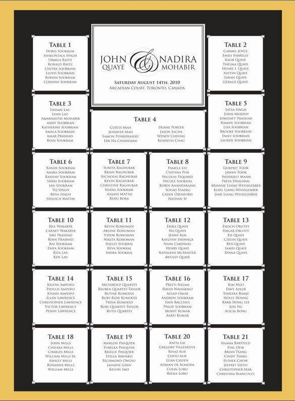 Wedding Seating Chart Template   Free Sample Example Format