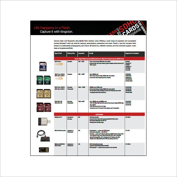 video card comparison chart free pdf template