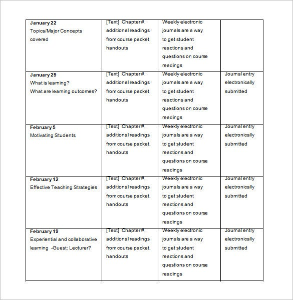 free syllabus schedule template doc