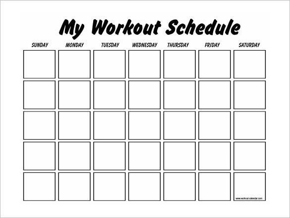 Workout Calendar Template : Workout schedule templates pdf doc free premium