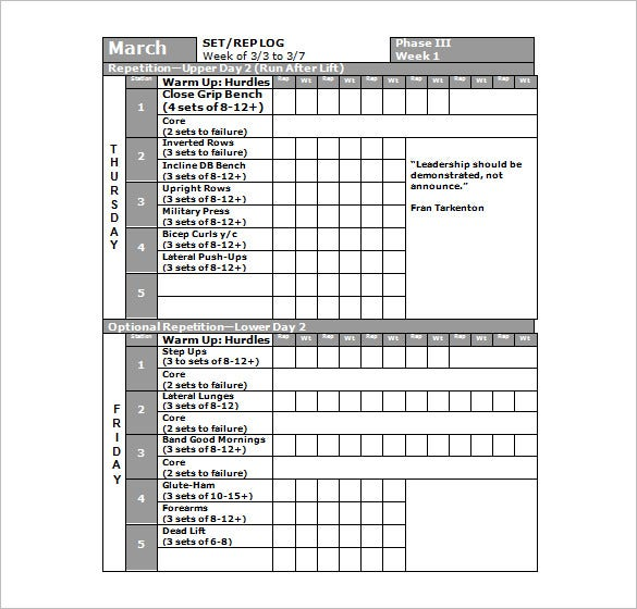 Work out charts template for High school football program template