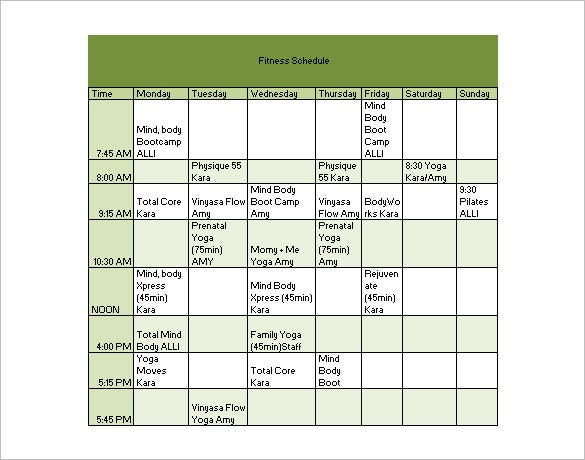 Fitness Timetable Template  CityEsporaCo