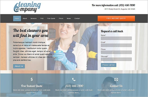 impressive cleaning company wordpress theme