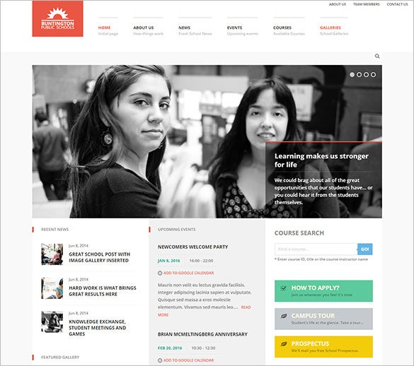 stunning high school wordpress theme