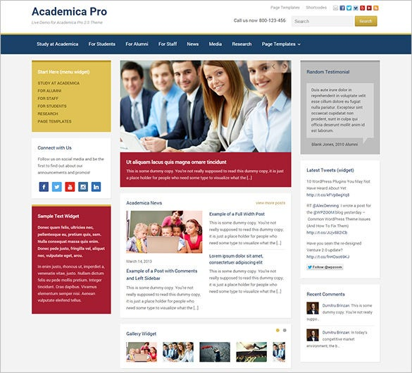 pretty high school wordpress theme