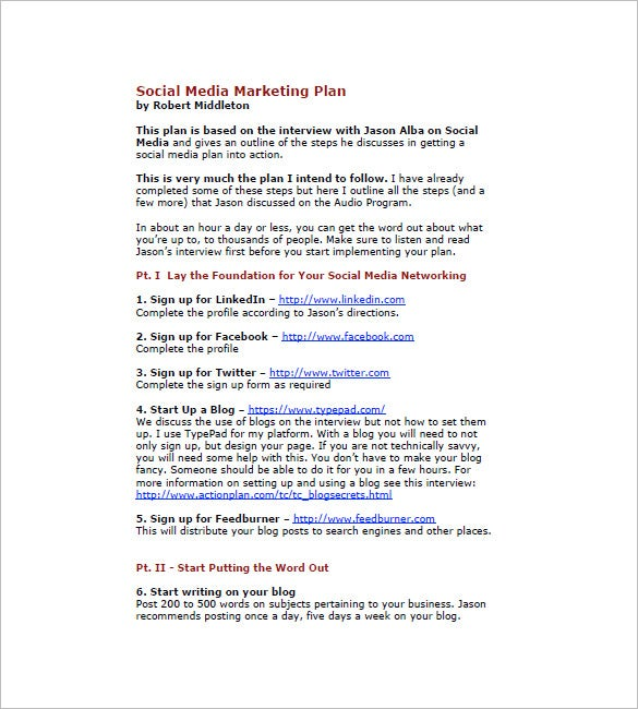 Social Media Marketing Plan Templates  Free Sample Example