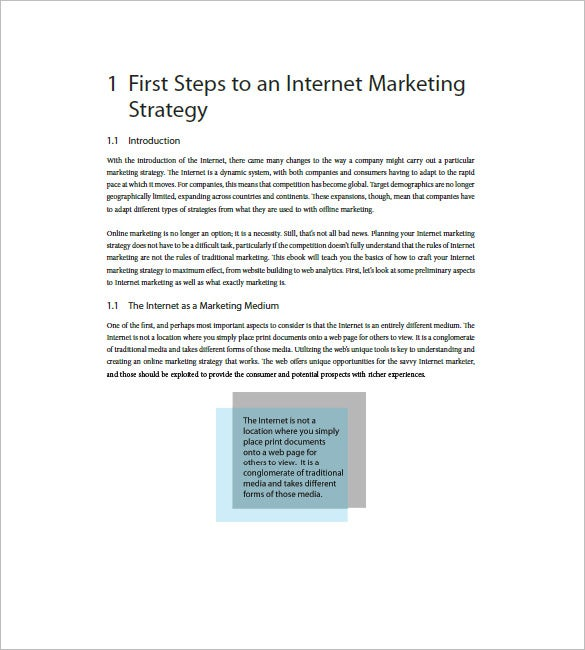 internet marketing plan example