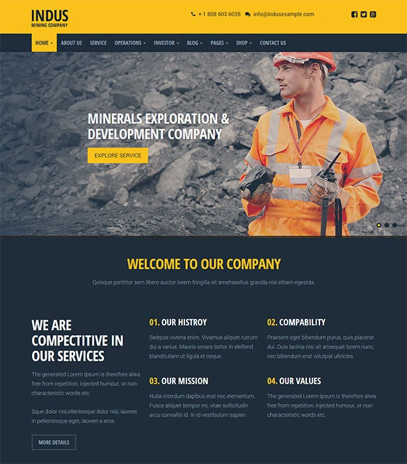 elagant mining company wordpress theme