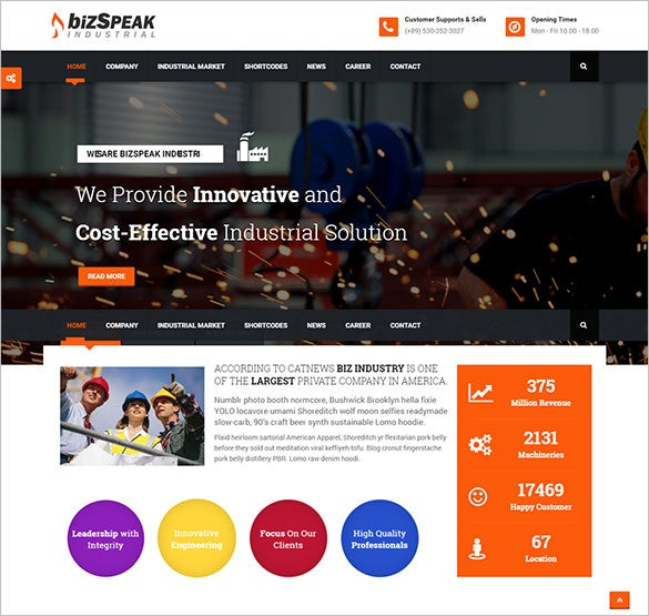 responsive mining company wordpress theme