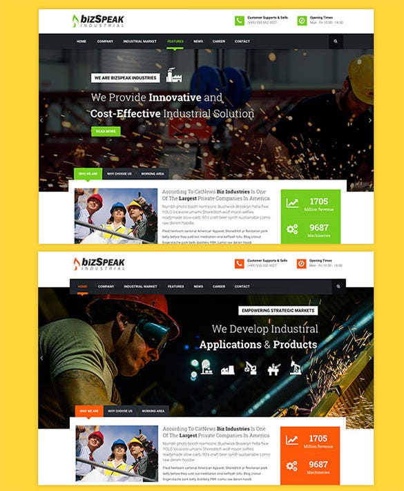 responsive industrial wordpress theme