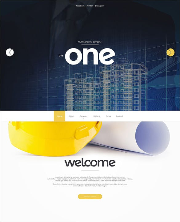 the one industrial website template