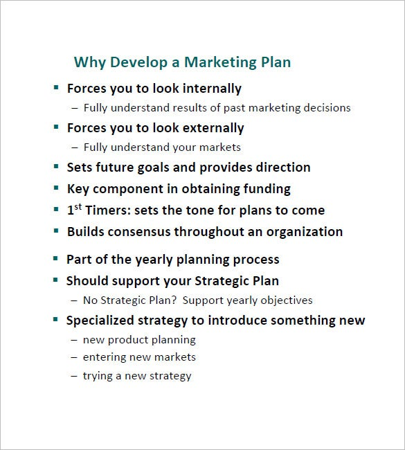 developing a simple marketing plan