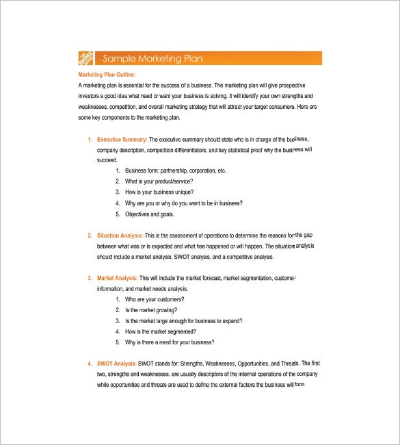 Simple Marketing Plan Template 12 Free Sample Example Format – 1 Page Executive Summary Template