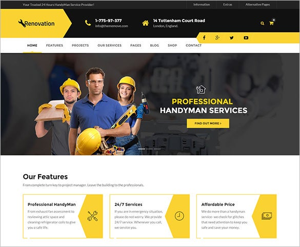 reputed roofing company wordpress theme