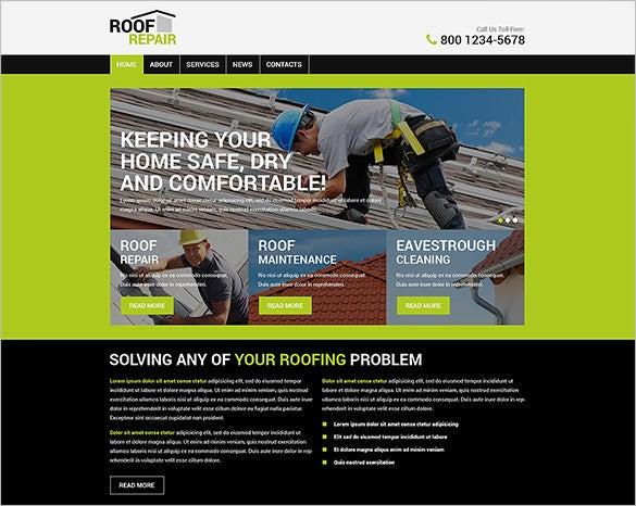 comfortable roofing company wordpress theme