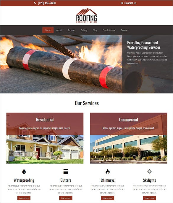 commercial residential roofing company wordpress template