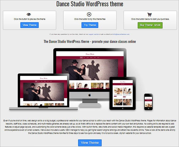 dance studio wordpress theme for you