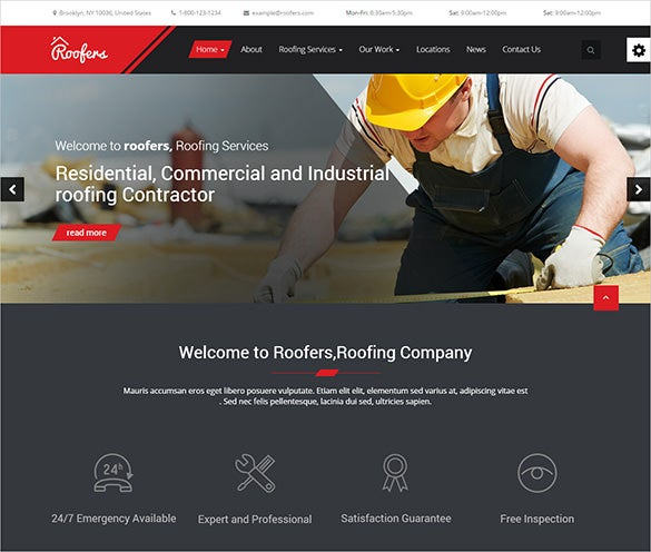 responsive roofing company wordpress theme