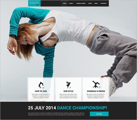 dance studio website wordpress template